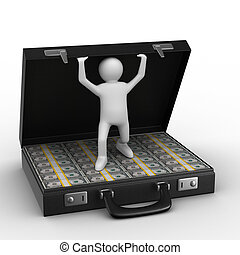 dollars, isolerat, bakgrund., resväska, vit, öppna, avbild, 3