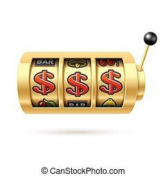 Dollars jackpot on gold slot machine