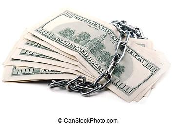 dollars, kettingen, stapel