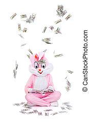 dollars., läsning, affärsman, hundra, sky., pengar, dollar, lycklig, regna, nedgångar, person, bok, rik, under, bli, hur, lagförslaget