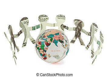 dollars little people cutouts dance in half ring around small globe