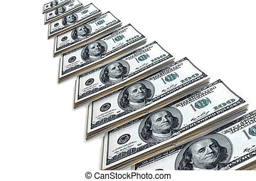 Dollars located on a white background