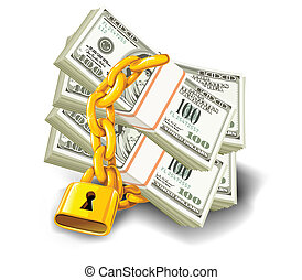 Dollars locked - dollar paper money under lock and key with...