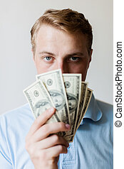 dollars, man, amerikaan, holdingshanden