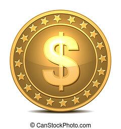 Dollars money coin - Dollars money isolated on white.