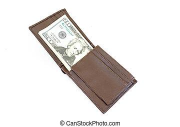 dollars money in bag on white background