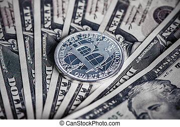 dollars, monnaie, bitcoin, nous, argent