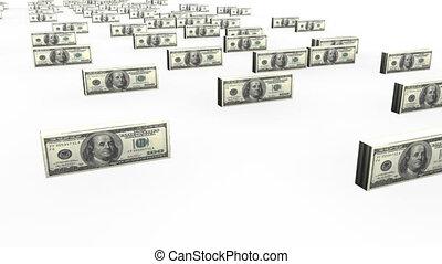 dollars, notes, animation, étape