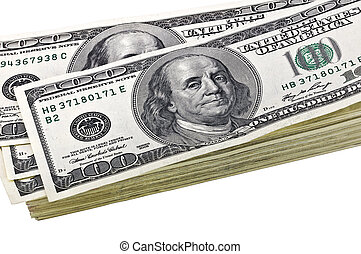 Dollars on a white background. Isolated.