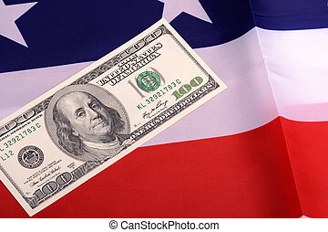 dollars on american flag