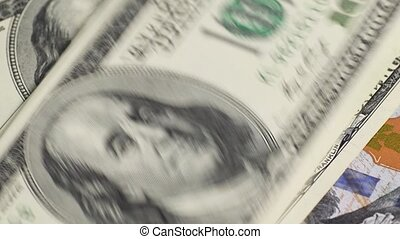 Dollars on gray table - US dollars counting on gray table,...