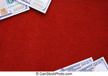 Dollars on red felt table