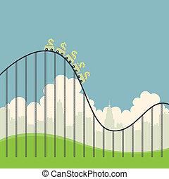 Dollars on Roller Coaster - Vector illustration of several...