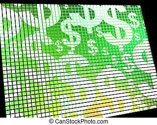 Dollars On Screen Showing Money Wealth Or Earnings