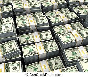 dollars, op, illustratie, stapel
