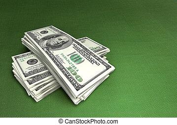 dollars, på, grön