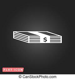 dollars, paquet, icône