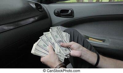 dollars, paquet, mains
