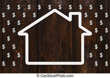 dollars, pengar, concept., regna, abstrakt, papper, hus, begreppsmässig avbild