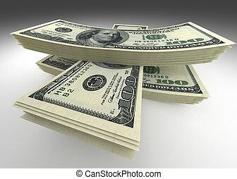 dollars, pengar., stack