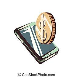 dollars, pièces, smartphone