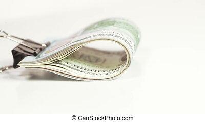 dollars, pile, agrafe