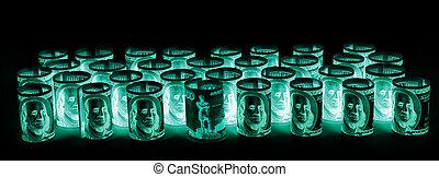 dollars, protection, nous, billets banque, uv, russe, roubles, lumière