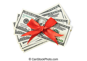 dollars, röd bocka