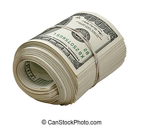 Dollars roll isolated on white