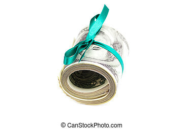 Dollars rolled into a tube tied with ribbon isolated on white