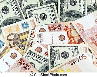 dollars, roubles, och, euro