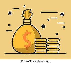dollars, sac argent, pièces
