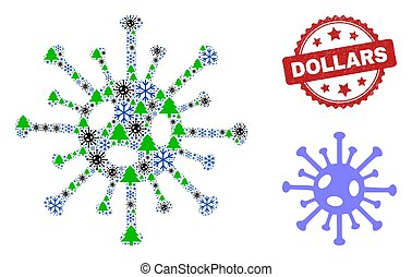 Dollars Scratched Seal Stamp and Coronavirus Mosaic Icon with Frost and Viruses