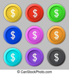 Dollars sign icon. USD currency symbol. Money label. Set of...