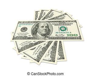 Dollars spread - Hundreds of dollars spread on white ...
