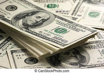 Dollars stack close-up