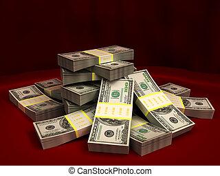 dollars stack - 3d illustration of dollars stack over red...