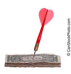 dollars, stack, pil, röd