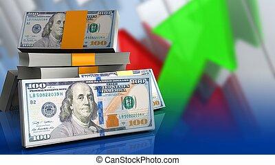 dollars, stapel, 3d