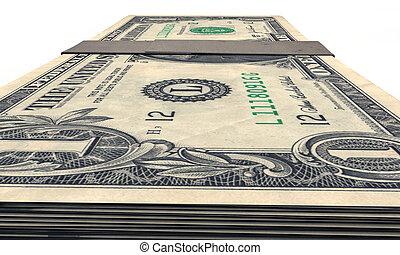 dollars, stapel, een