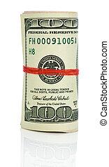 dollars, sträng, röd, rulle