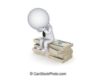 dollars., triste, séance, personne, pile, 3d, petit