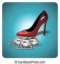 Dollars under a red stiletto - Dollar bills under a red...