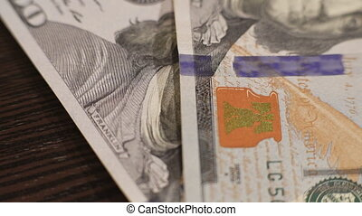 dollars, une, 4k, lot, table, tomber, cent