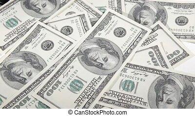 dollars, une, arrière-plan., tas, tomber, cent