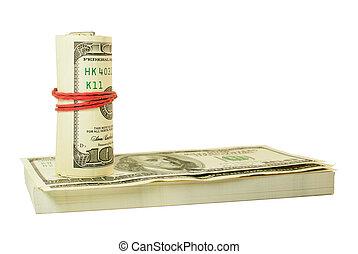dollars, uppe, oss, rulle, gummi, bundet, lagförslaget, stack