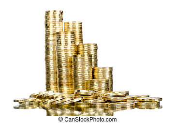 dollars - very many rouleau gold monetary or change coin, on...
