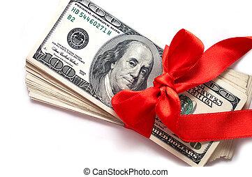 dollars, vita remsa, isolerat, röd
