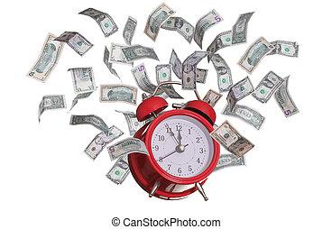 dollars, vliegen, alarmclock