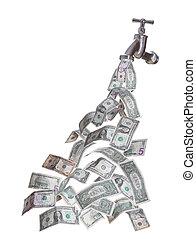 dollars, vloeiend, kraan, uit